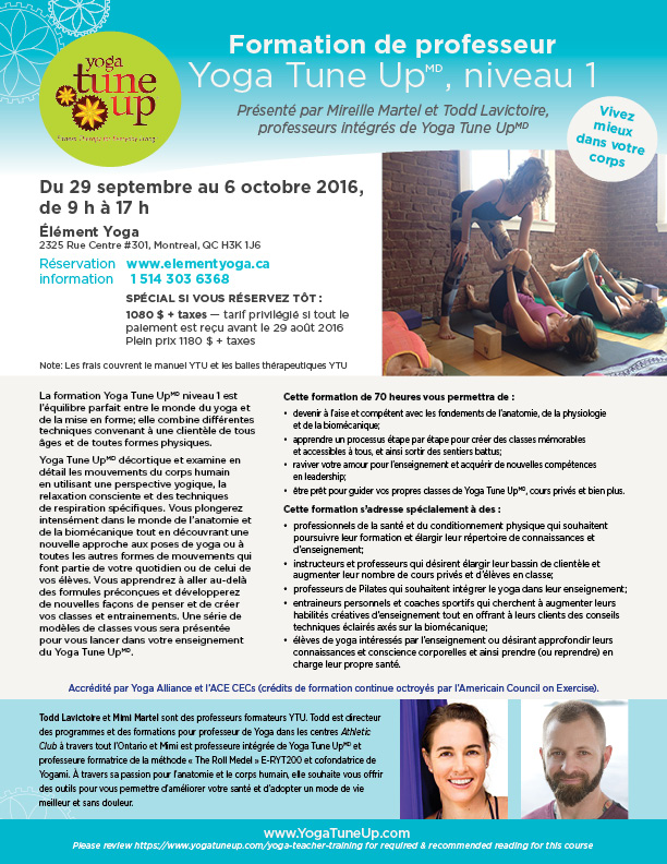 Formation de professeur Yoga Tune Up, niveau 1 | Todd Lavictoir | Mimi Martel | Yogami